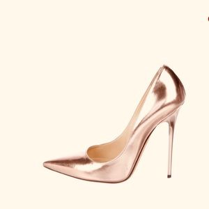 Jimmy Choo rose gold pointy pumps